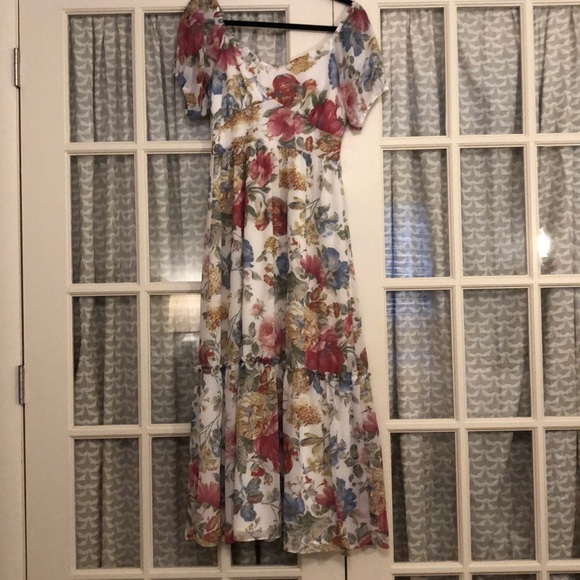 Wayf Pink and Blue Floral Maxi Dress